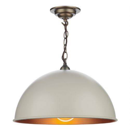 Ealing 1 Light Pendant Cotswold Cream/Antique Brass Inner EAL8612 (7-10 day Delivery)